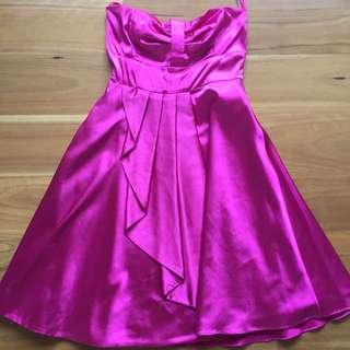 Pink/fuschia Sateen Formal Dress