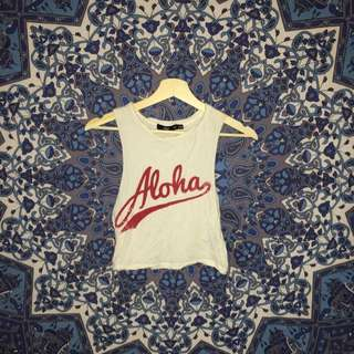 """ ALOHA "" sports girl crop tee / tank top"