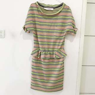 Dress Stripe Green Pink Grey