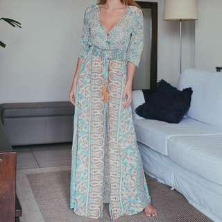 Summer Vintage V Neck Boho Maxi Dress