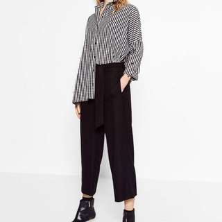 ZARA TRF Cropped Trousers with Tie
