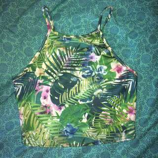 Tropical Patterned Crop Top Size XS