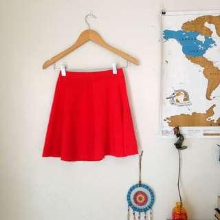 Bright red Skirt From Bershka