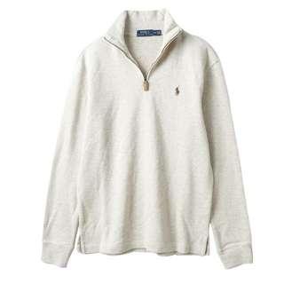 【全新】Polo Ralph Lauren 男款素面小馬標拉鍊立領針織上衣-米白色