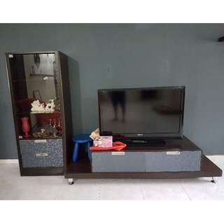 Living Room TV Console with Glass Display case