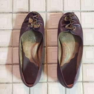 二手👐🏻專櫃真皮紫色娃娃鞋