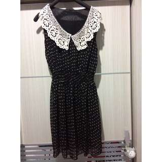 Lace Collar Black Dress