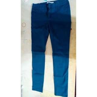🎯價格可議 Baleno 班尼路 偏藍綠色 牛仔褲 長褲 窄褲 色褲