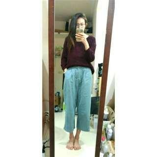 韓國 牛仔寬褲