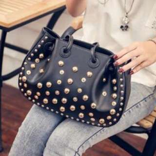 PU Leather Handbag With Gold Rivets