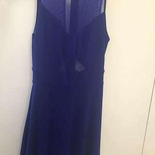 Blue Cut Out Mesh Dress