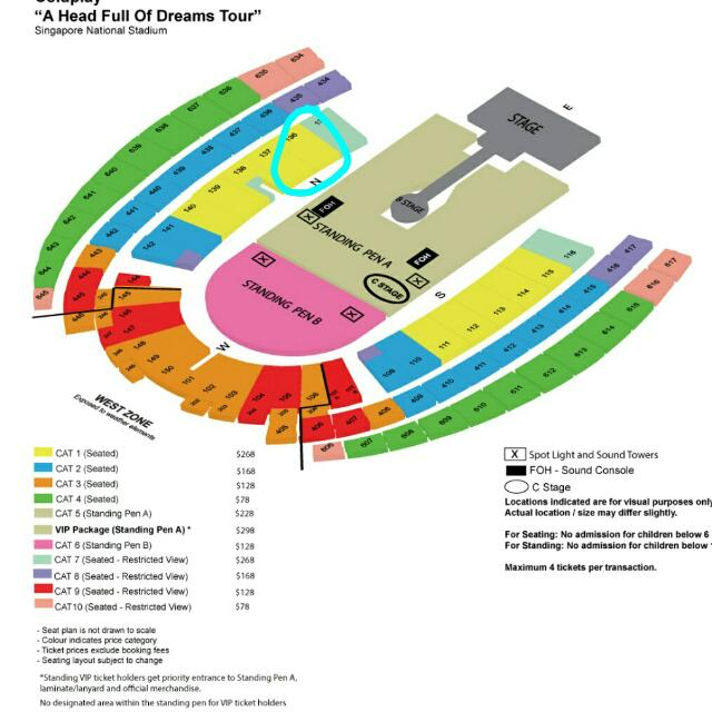 2 x Cat 1 Coldplay tickets  sect 136