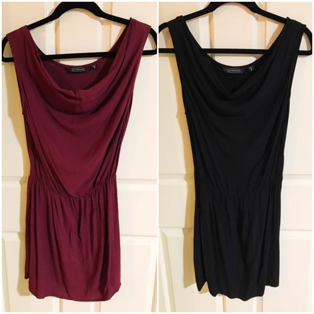 2 X Glassons Slip Dresses With Elastic Waist (1 X Burgundy & 1 X Black)