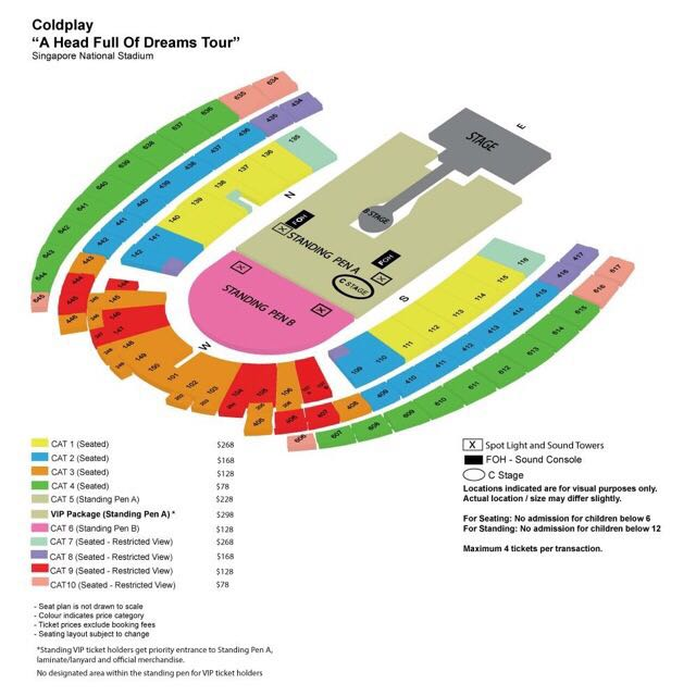 2x SEATED COLDPLAY TICKETS APR 1