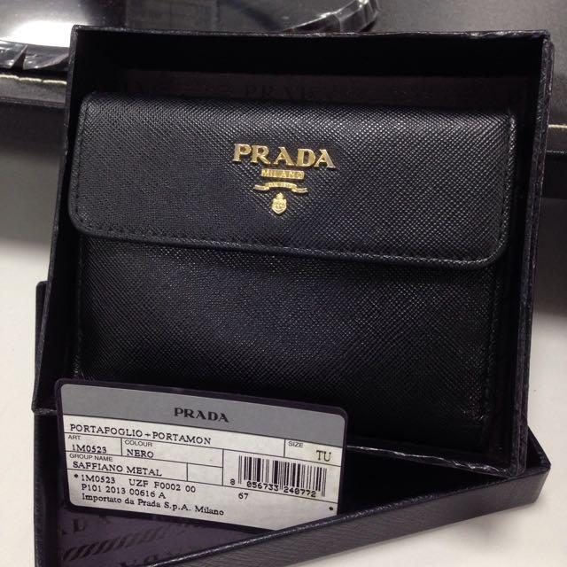 降⬇️7000❗️🌑正版Prada黑短版皮夾🌑