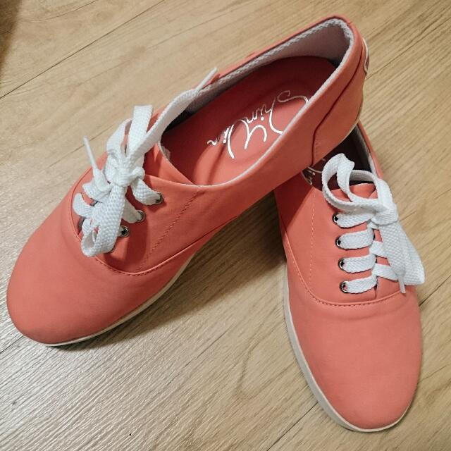 橘色軟皮休閒鞋#交換最划算