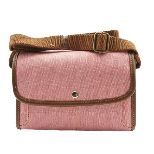 牛仔復古相機包-粉色