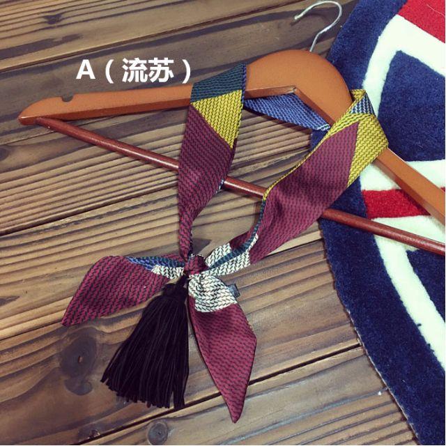 韓版時尚雪紡緞面復古領巾+流蘇吊墜