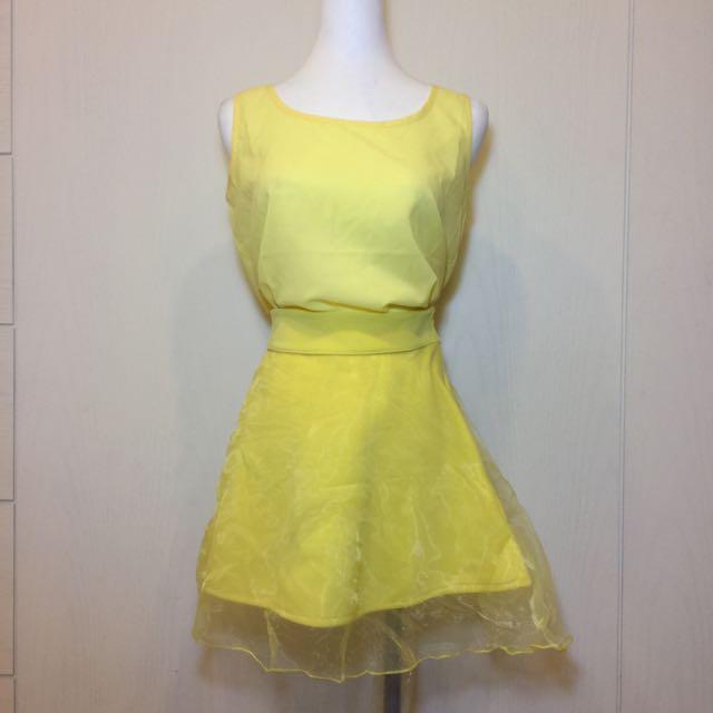 女裝 清新黃色無袖上衣➕裙子