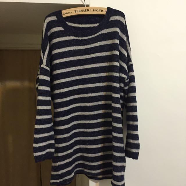 深藍白橫條落肩舒適感加分上衣/裙子(含運)