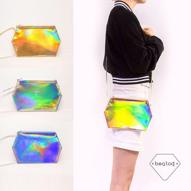 🇰🇷韓國代購新款 六角型光芒七彩包 側背包 小包 單肩背