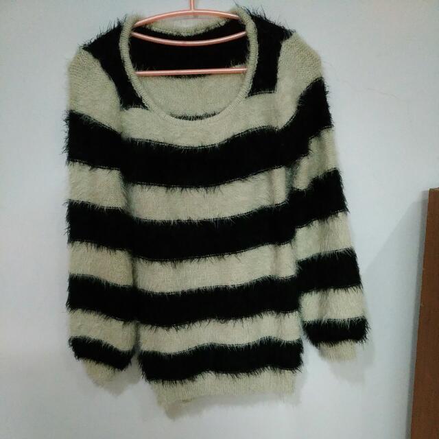 (九成新)寬條紋毛衣