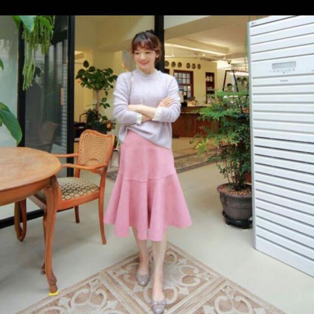 正韓 麂皮粉色 魚尾裙