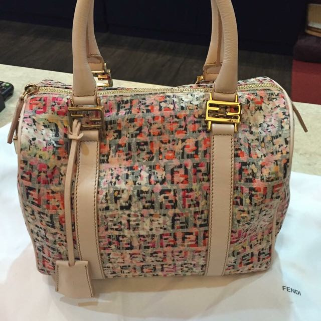 購於專櫃 保證真品 Fendi花樣緹花布手提包