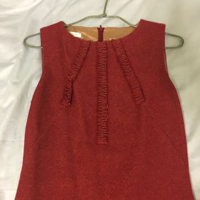 法國 Kookai 紅色毛料洋裝