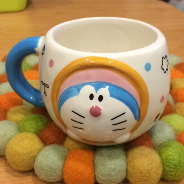 日本北海道銀之鐘限定款「哆啦A夢」造型小陶瓷杯