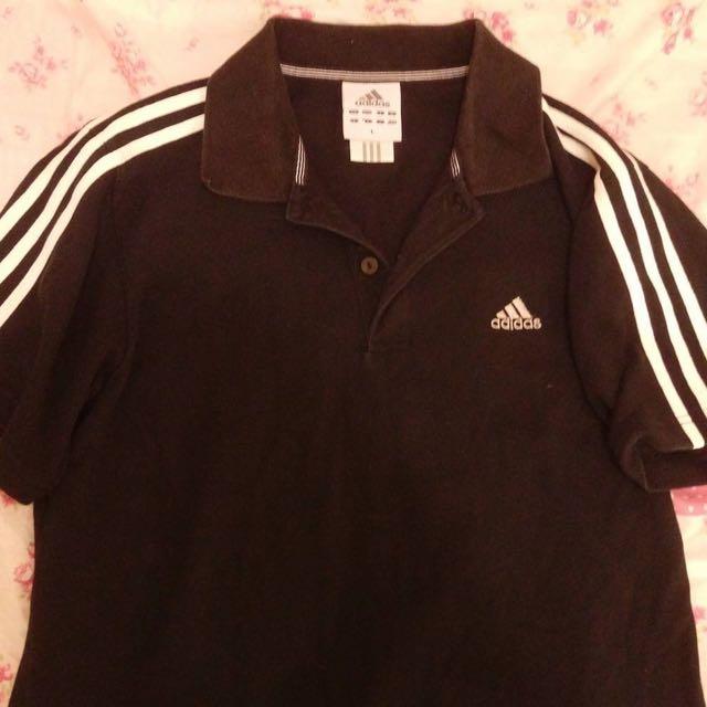 Adidas 黑色polo 衫