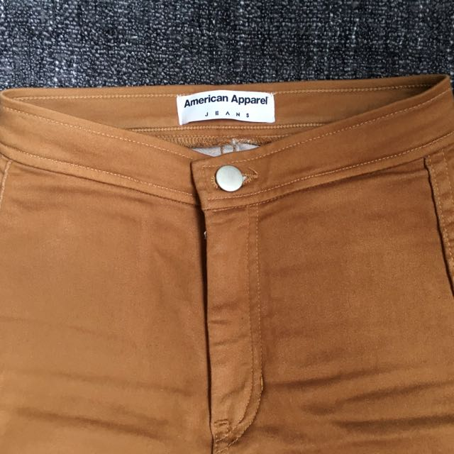 American Apparel Stretch Pants In Camel XXS