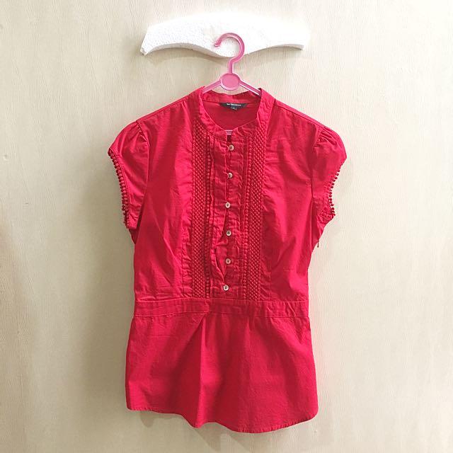 Atasan Baju Kerja Executive Red Shirt Hnm Top