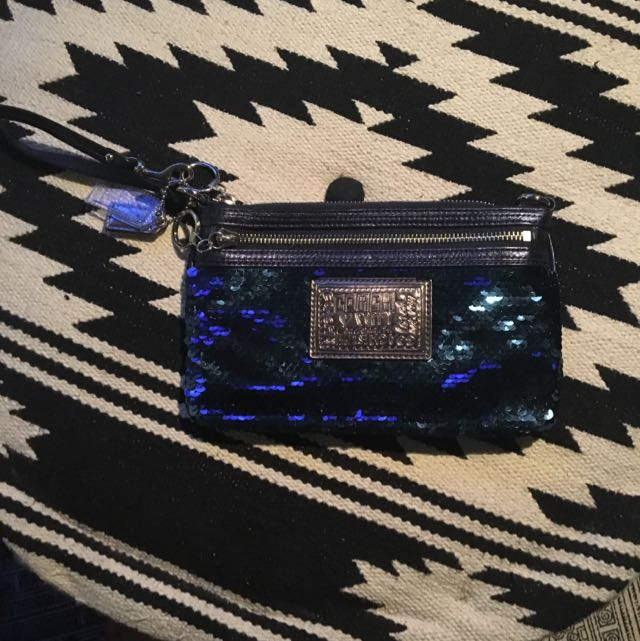 Coach Blue Sequin Clutch - Poppy Collection