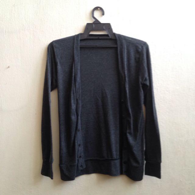 Dark Grey Cotton Lightweight Casual Formal Long Sleeve Cardigan Jacket Outerwear