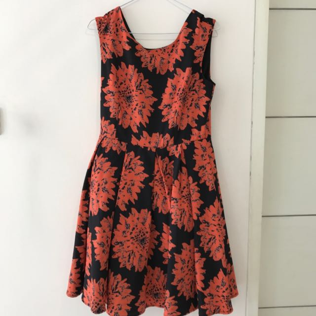 Dolce &Gabbana Low Back Orange Floral Dress