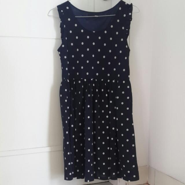 Dress H&M POLKADOT NAVY.