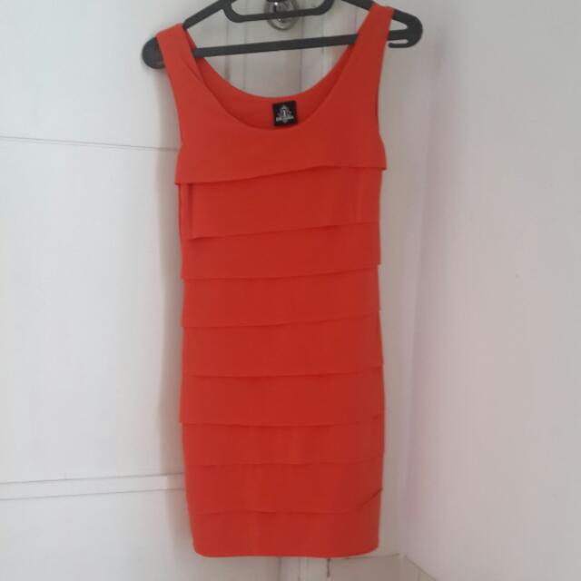 Dress Pesta Orange. Cocok Utk Pesta/casual