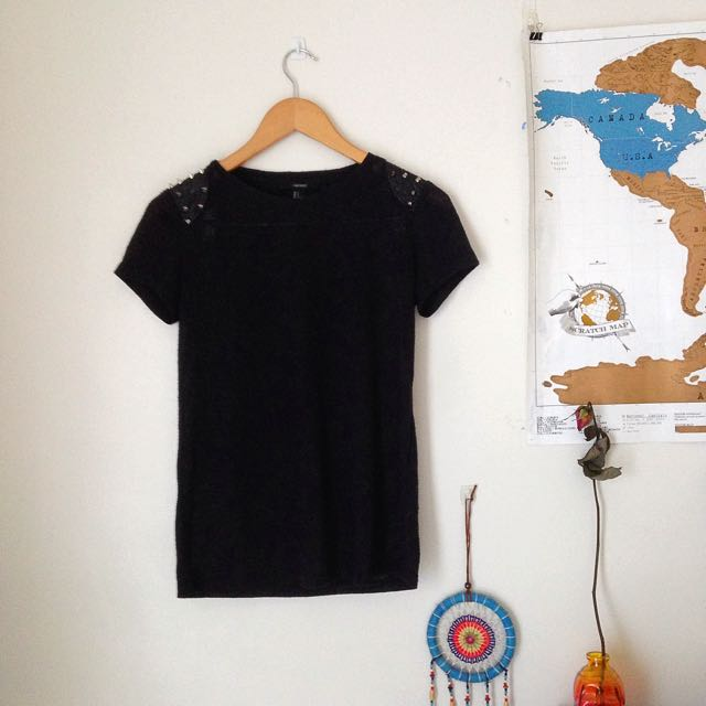 F21 black t-Shirt With studded details