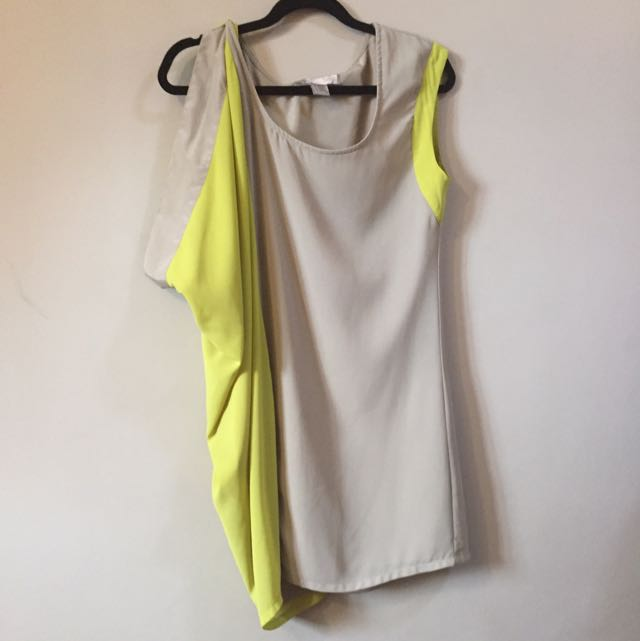 F21 Yellowgreen And Sage Dress