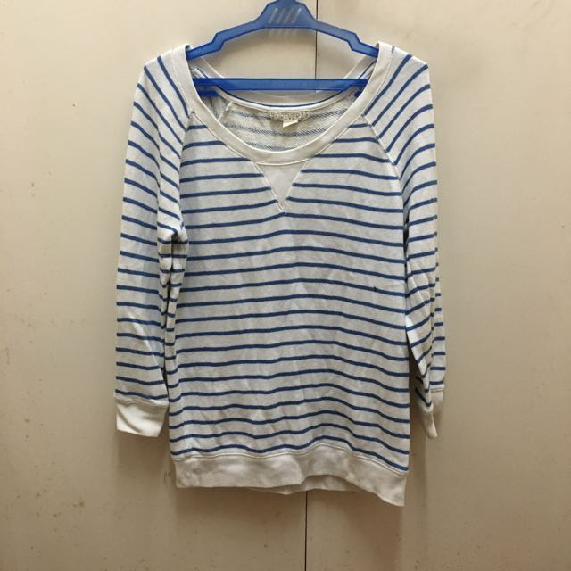 Forever21 Blue and White Striped Sweatshirt
