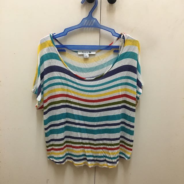 Forever21 Rainbow Striped Top