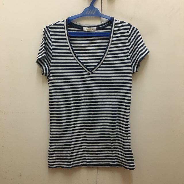 Forever21 Striped Deep V Shirt