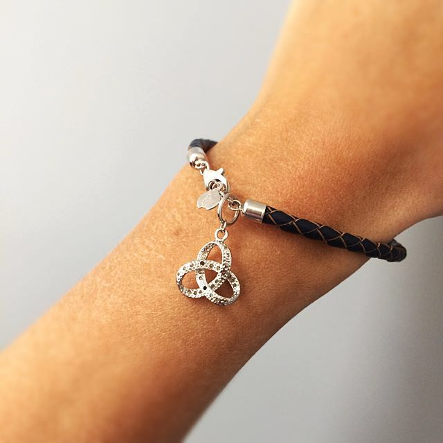 Genuine Leather Bracelet with Sterling Silver Charm