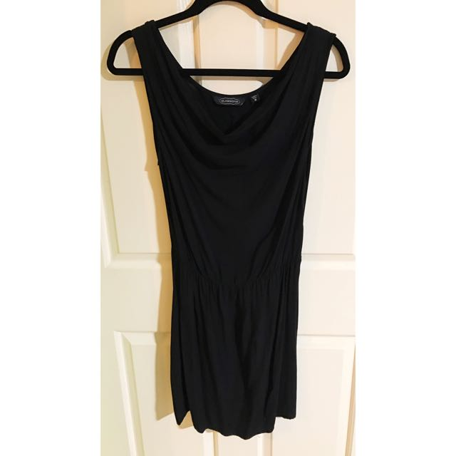 Glassons Black Cow Neck Slip Dress With Elastic Waist