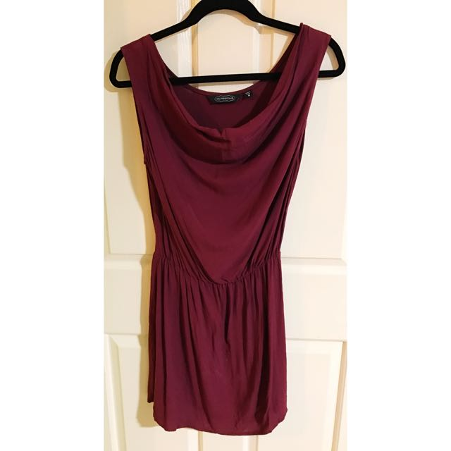 Glassons Burgundy Cow Neck Slip Dress With Elastic Waist