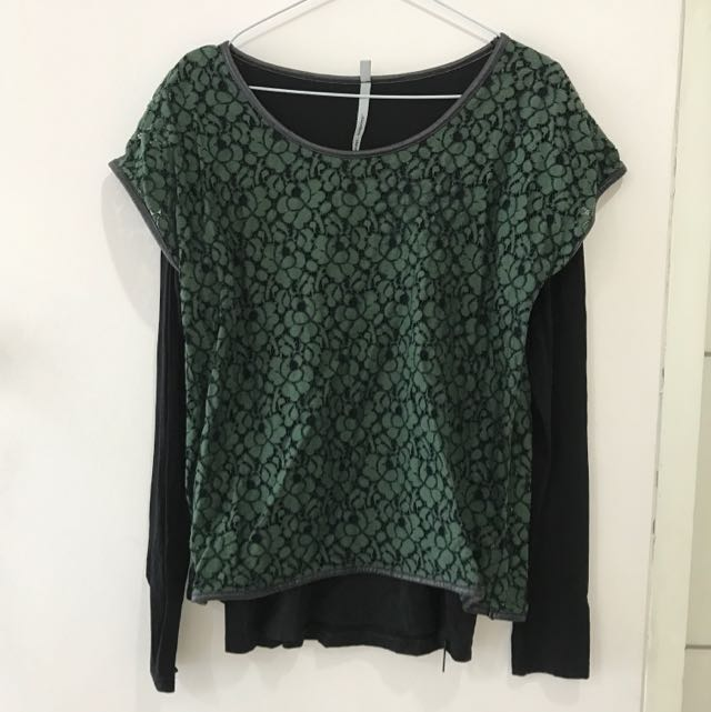 Green Black Long Sweater