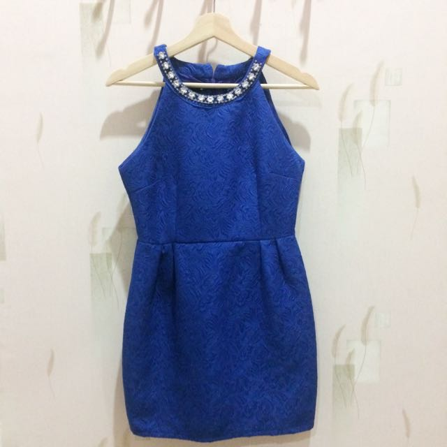 Halter blue dress