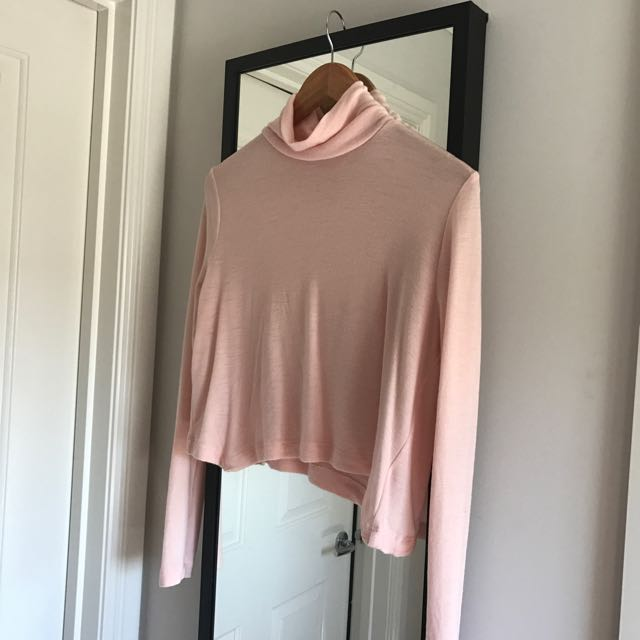 KOOKAI PALE PINK TURTLE NECK CROPPED LONG SLEEVE