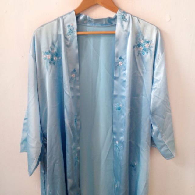 Light Blue Silk Embroidered Robe